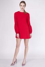 Czerwona Sukienka Trapezowa Mini z Falbanką przy Rękawie