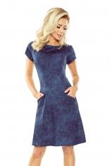 Granatowa Sukienka Trapezowa z Wsuwanymi Kieszeniami