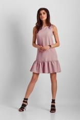 Różowa Mini Sukienka z Falbanką