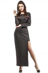 Czarna Wieczorowa Sukienka Maxi z Transparentnymi Detalami