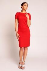 Czerwona Elegancka Sukienka przed Kolano z Dekoltem Typu Woda na Plecach