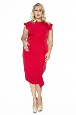 Stylowa Czerwona Sukienka z Falbanką PLUS SIZE