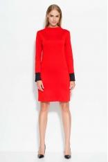 Czerwono Czarna Sukienka z Kontrastowymi Detalami