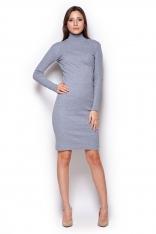 Szara Casualowa  Prążkowana Sukienka z Golfem