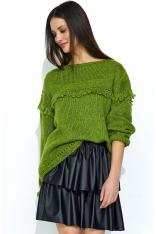 Zielony Oversizowy Sweter z Ażurowym Rękawem