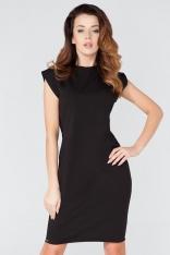 Czarna Prosta Dzianinowa Sukienka z Dekoracyjnym Wiązaniem