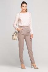 Beżowe Eleganckie Spodnie z Podwyższonym Stanem