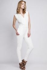 Biały Elegancki Kombinezon z Kopertowo Zakładanym Dekoltem