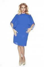 Chabrowa Sukienka Elegancka Dwuwarstwowa Kimonowa Plus Size