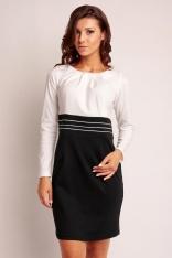 Ecru-czarna Dwukolorowa Elegancka Sukienka z Zakładkami przy Dekolcie z Długim Rękawem