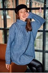 Oversizowy Sweter z Golfem w Warkocze - Niebieski