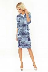 Jeansowa Sukienka Ołówkowa z Golfem Wiązana w Pasie w Łaty