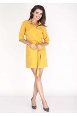 Żółta  Sukienka Mini z Paskiem i Kieszeniami
