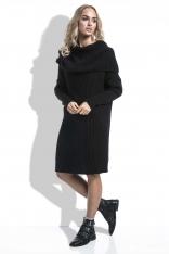 Czarna Sukienka Swetrowa z Obfitym Golfem