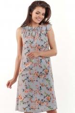 Szara Kobieca Sukienka w Kwiatowy Wzór Kokardą na Ramieniu