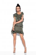 Zwiewna Sukienka Wiązana na Jedno Ramię - Khaki