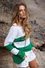Zielony Lekki Sweterek w Paski z Ozdobnymi Oczkami