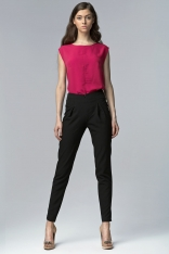Czarne Eleganckie Spodnie z Wysokim Stanem z Rozciętymi Nogawkami