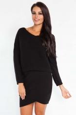 Czarny Dzianinowy Komplet Bluzka + Mini Spódnica