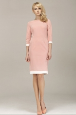 Różowa Klasyczna Sukienka z Lamówkami