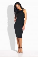 Czarna Sukienka Ołówkowa do Kolan bez Rękawów