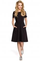 Czarna Wygodna Sukienka z Gumką w Pasie i Kieszeniami