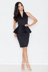Czarna Koktajlowa Sukienka z Kopertowym Dekoltem z Baskinką