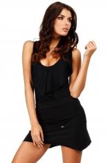 Czarna Dzianinowa Mini Spódnica