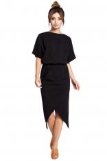 Czarna Sukienka z Kopertowo Zakładanym Dołem
