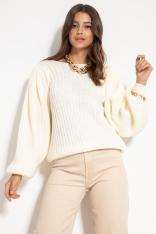 Sweter w Prążki z Bufiastym Rękawem - Ecru