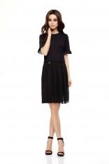 Czarna Elegancka Wyjściowa Sukienka z Plisowaniem