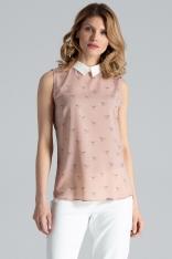 Różowa Skromna Bluzka bez Rękawów z Koszulowym Kołnierzykiem
