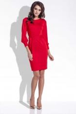 Czerwona Sukienka Ołówkowa z Wiązanym Paskiem