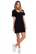 Wygodna Sukienka w Kształcie Litery A - Czarna