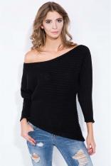Czarny Sweter Asymetryczny z Łódkowym Dekoltem