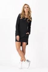 Czarna Dresowa Asymetryczna Sukienka z dużymi kieszeniami