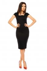 Czarna Ołówkowa Wyjściowa Sukienka Midi z Dekoltem Karo