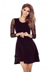 Czarna Sukienka Wizytowa Rozkloszowana z Transparentnymi Rękawami