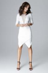 Ecru Wyjściowa Asymetryczna Sukienka z Transparentną Wstawką