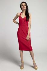 Czerwona Dopasowana Sukienka Midi Wiązana na Karku