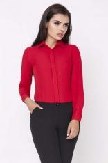Czerwona Klasyczna Taliowana Koszula z Krytym Zapięciem