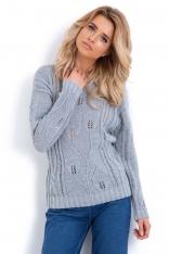 Szary Klasyczny Sweter z Ażurowym Wzorem