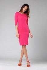 Ciemno Różowa Klasyczna Ołówkowa Sukienka z Rękawem za Łokcie