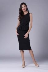 Czarna Wizytowo-Koktajlowa Sukienka z Baskinką