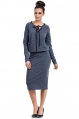 Granatowa Sukienka Midi ze Sznurowaniem przy Dekolcie