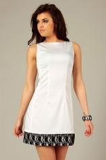 Ecru Elegancka Sukienka z Kontrastowymi Lamówkami na Szerokich Ramiączkach