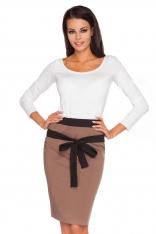 Brązowo-czarna Ołówkowa Spódnica z Kontrastowym Wiązanym Paskiem