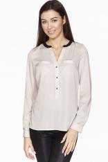 Beżowa Elegancka Koszulowa Bluzka z Kontrastowym Karczkiem