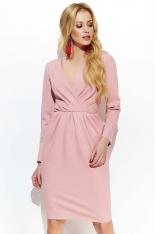 Różowa Sukienka Bombka z Kopertową Górą