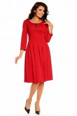 Czerwona Elegancka Sukienka przed Kolano z Zakładkami